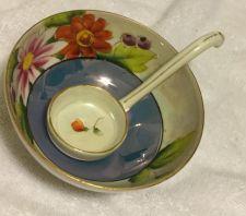 Buy Noritake Morimura Pink Blue Luster Flower Condiment Jam Jelly Spoon Bowl Japan