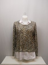 Buy SIZE 20 Womens Twofer Sweater FADED GLORY Animal Collared Neck Long Sleeves Pull