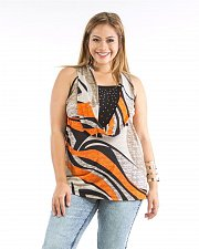 Buy PLUS SIZE 1X 2X Women Knit Top DILA Geometric Jeweled Plunging Neck Sleeveless