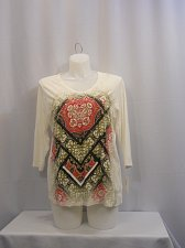 Buy Women Knit Top Plus Size 1X Style&Co Sport Jeweled White Paisley ¾ Sleeve V-Neck