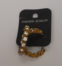 Buy Women Fashion Hoop Earrings Rhinestones Gold Tones Leverback Fastener FASHION JE