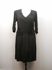 Buy Women Dress Solid Black NY COLLECTION PLUS SIZE 1X ¾ Sleeves Surplice Bodice