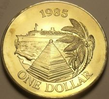 Buy Bermuda 1985 Dollar Unc~Only 11,000 Minted~Cruise Ship~The Bermuda Buttery~Fr/Sh