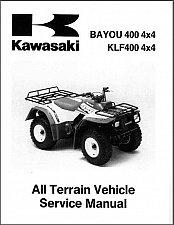 Buy 1993-1999 Kawasaki KLF400 Bayou 400 4X4 ATV Service Manual on a CD
