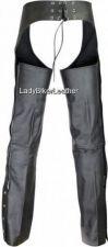 Buy Mens Ladies BIKER Black PREMIUM Leather MOTORCYCLE CHAPS Deep SLASH Pockets