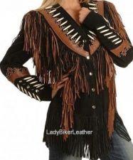 Buy LADIES BIKER Black & Brown SUEDE Leather WESTERN Indian FRINGE Motorcycle Jacket