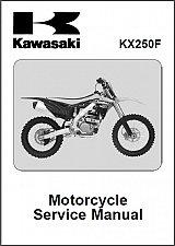 Buy 2013-2014-2015 Kawasaki KX250F Service Manual on a CD