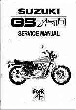 Buy 1976-1977-1978 Suzuki GS750 Service Manual on a CD --- GS 750