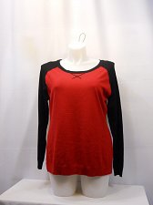 Buy Size XL Women Sweater Scoop Neck Long Sleeves Thin Knit Color Blocked Black Red