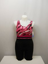 Buy SIZE 22 Women 1PC Pink Ripples Aquatard AQUABELLE Black High Back Chlorine Resis