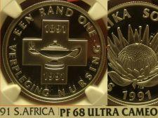 Buy South Africa 1991 Rand NGC Proof 68 Ultra Cameo~Nursing 100 Years~Rare~Pop=1~F/S