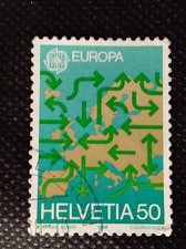 Buy Switzerland 1V USED STAMP 1988 Mi1370 Map of Europe with arrows