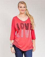Buy Women Knit Top PLUS SIZE 1X 2X Soild Coral LOVE LIVE Beaded V Neck