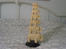 Buy STACKED ELEPHANT Statue 7 High Soap Stone or Alabaster Broken