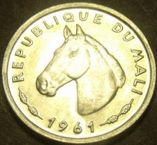Buy Mali 1961 10 Francs Gem Unc~Horse~Only Year Minted~Free Shipping