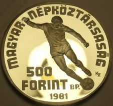 Buy Hungary 1981 500 Forint Silver Proof~World Football Championship~Free Shipping
