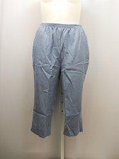 Buy SIZE 20W Women Capris Solid Blue Straight Leg Pockets Elastic Waist Inseam 19