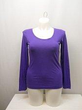 Buy SIZE L Women Sleep Shirt Knit Top JENNI Solid Purple Scoop Neck Long Sleeves