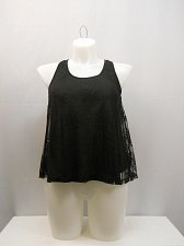 Buy Womens Tank Cami Size L IRIS BASIC Black Scoop Neck Racer Back Lace Lay Over