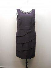 Buy PLUS SIZE 16W 20W 22W Women Tiered Sheath Dress Solid Eggplant Embellished Neck