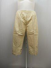 Buy PETITES 20P Women Cotton Capris Solid Beige Pockets Lattice Detail Elastic Waist
