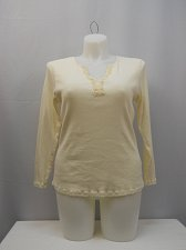 Buy Womens T-Shirt Size 18W-20W FADED GLORY Ivory Long Sleeve Y-Neck Lace Bead Trim