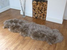 Buy DOUBLE size Genuine taupe Sheepskin Rug or Throw, approx 200 cm x 75 cm
