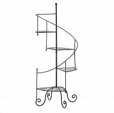 Buy *15964U - Spiral Staircase 4 Step Black Iron Plant Stand Pot Holder