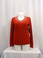 Buy Women Sweater Size XL DEBBIE MORGAN Solid Red Embellished V-Neck Long Sleeves