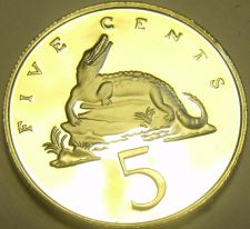 Buy Rare Proof Jamaica 1980 5 Cents~American Crocodile~2,688 Minted~Free Shipping