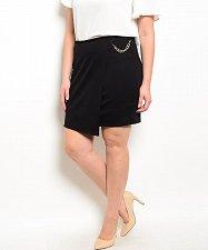 Buy SIZE 1X 2X 3X Womens Pencil Skirt SKY PLUS Black Mock Wrap Front Gold Side Chain
