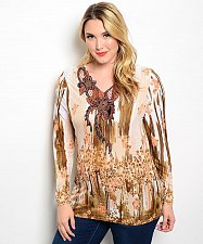 Buy SIZE 1XL 2XL 3XL Knit Top COC Brown Floral Jeweled Embroidery V-Neck Long Sleeve