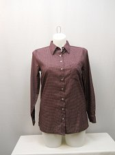 Buy Shirt SIZE M Womens Button Down HABAND Pocket Checked Long Sleeve Collared Neck
