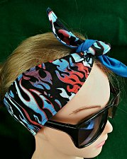 Buy Headband hair wraptie bandana Red White Blue Flames 100% Cotton hand made