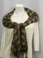 Buy Womens Stole Shawl Wrap Scarf 70X21 CEJON Brown Plaid Print Metallic Fringed