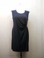 Buy Women Dress NY COLLECTION PLUS SIZE 1X Solid Navy Sleeveless Scoop Neck Ruched