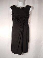Buy Women Dress SIZE 14 Evening Formal Career SL FASHIONS Knot Waist Solid Black