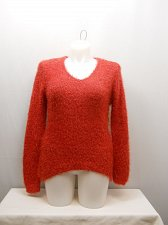 Buy SIZE 2XL Womens Eyelash Sweater NO BOUNDARIES Solid Red Long Sleeves V-Neck Pull