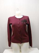 Buy Womens Button Cardigan SIZE S Solid Plum Beaded Long Sleeves SALON STUDIO Crew