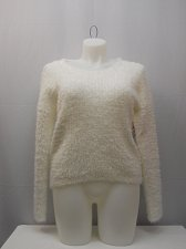 Buy Womens Eyelash Sweater SIZE L NO BOUNDARIES Hi Lo Solid Ivory Tunic Pullover