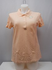 Buy Women Activewear Polo Shirt Size 20 Solid Peach Short Sleeves Collared Neck