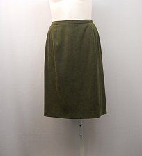 Buy SIZE 22W Womens A Line Skirt LADY DORBY Green Faux Suede Career Knee Length