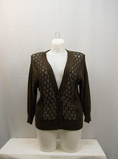 Buy SIZE L Sweater NORTHCREST Brown 3/4 Sleeves Y-Neck 3 Button Down 100% Cotton
