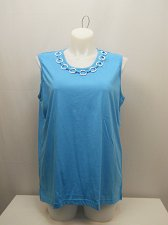 Buy PLUS SIZE 2X Women Knit Top BOCA BAY Solid Blue Scoop Neck Sleeveless Neck Trim