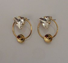 Buy Women Fashion Stud Earrings Rhinestones Gold Tones Push Back Fasteners A88