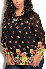 Buy PLUS SIZE XL 2XL 3XL Sheer Womens Tunic Top MOA Black Floral Chiffon Long Sleeve