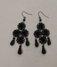 Buy Women Fashion Drop Dangle Earrings Black Flowers Beads BIRCH HILL Hook