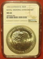 Buy Cayman Islands 1972 Silver $25~NGC MS-66 Royal Wedding Anniversary~Free Shipping