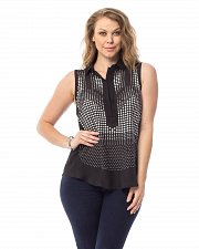 Buy SIZE 3XL Women Sheer Top Solid Black Studded Front Collared Neck Sleeveless