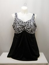 Buy PLUS SIZE 28 Women 1PC Swimdress Zebra Print SWIM365 V-Neck Tummy Control Panel